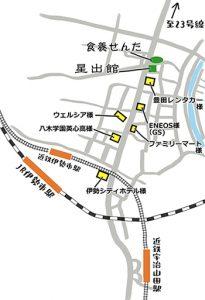 お店への周辺地図。近鉄伊勢市駅より23号線方面(北)徒歩7分。